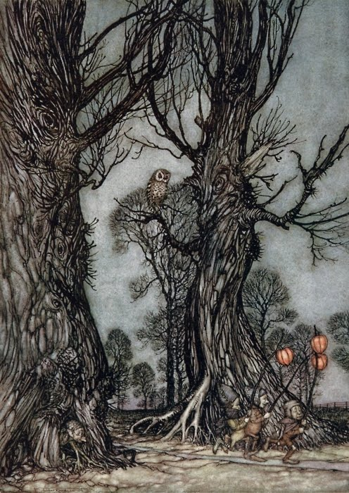 Arthur Rackham  Linkmen Running in Front Carrying Winter Cherries Peter Pan in Kensington Gardens by J. M. Barrie 1906